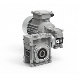 Motoréducteur Roue et Vis CMM026/026 i2400 Ø12 taille 56 4pôles 0,06Kw IE1 B14