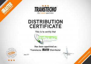 Certificat centre de montage Transtecno