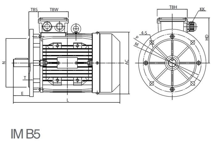 Schéma de fixation bride à trous lisses sur moteur B5