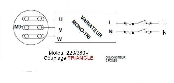Schéma variateur, couplage mono-tri